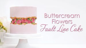 Buttercream Flowers Fault Line Cake