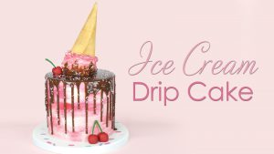 melted Ice cream cone drip cake tutorial