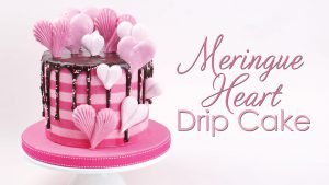 Meringue heart striped drip cake tutorial