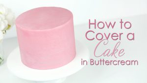 Covering a cake in buttercream