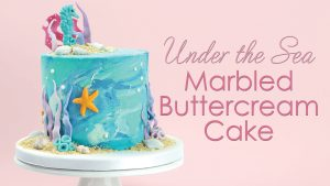 Under the Sea marble buttercream cake