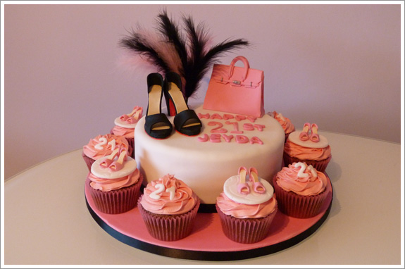 Hand Bag Shoe Cake With Cupcakes Cakes By Lynz