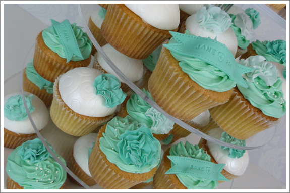 Mint ruffle cake & cupcake tower « « Cakes by Lynz Cakes by Lynz