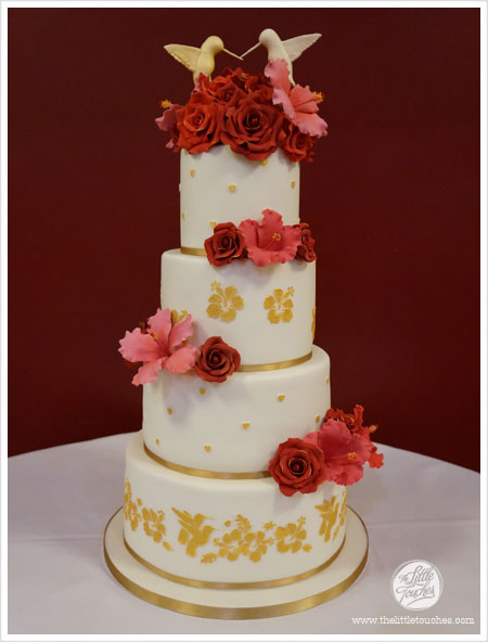 4 Tier Red Gold Hibiscus Hummingbird Wedding Cake Cakes By Lynz