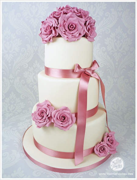 Ivory Pink Vintage Wedding Cake Cakes By Lynz