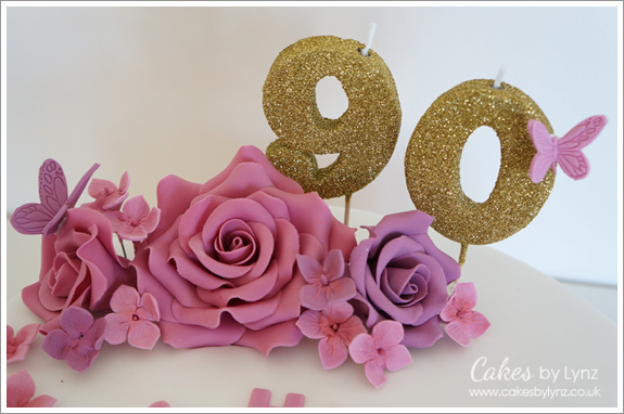 Roses With Butterflies 90th Birthday Cake Cakes By Lynz