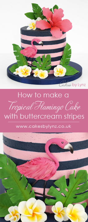 Tropical flamingo striped Cake