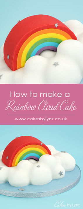 3D Rainbow in the clouds Cake tutorial