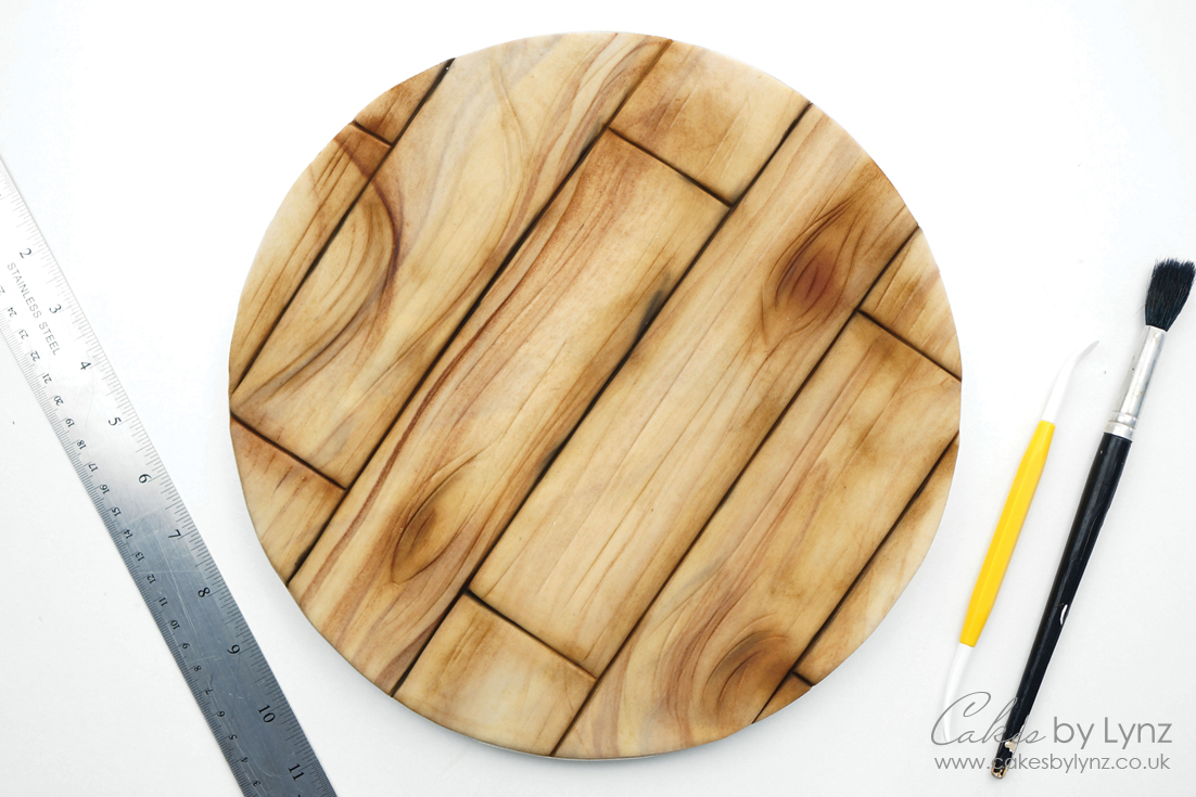 Covering a cake board to look like wood