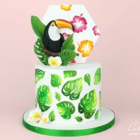 Tropical leaves toucan cake tutorial