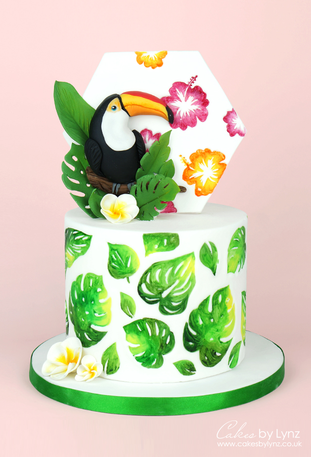 Toucan Tropical leaves cake tutorial