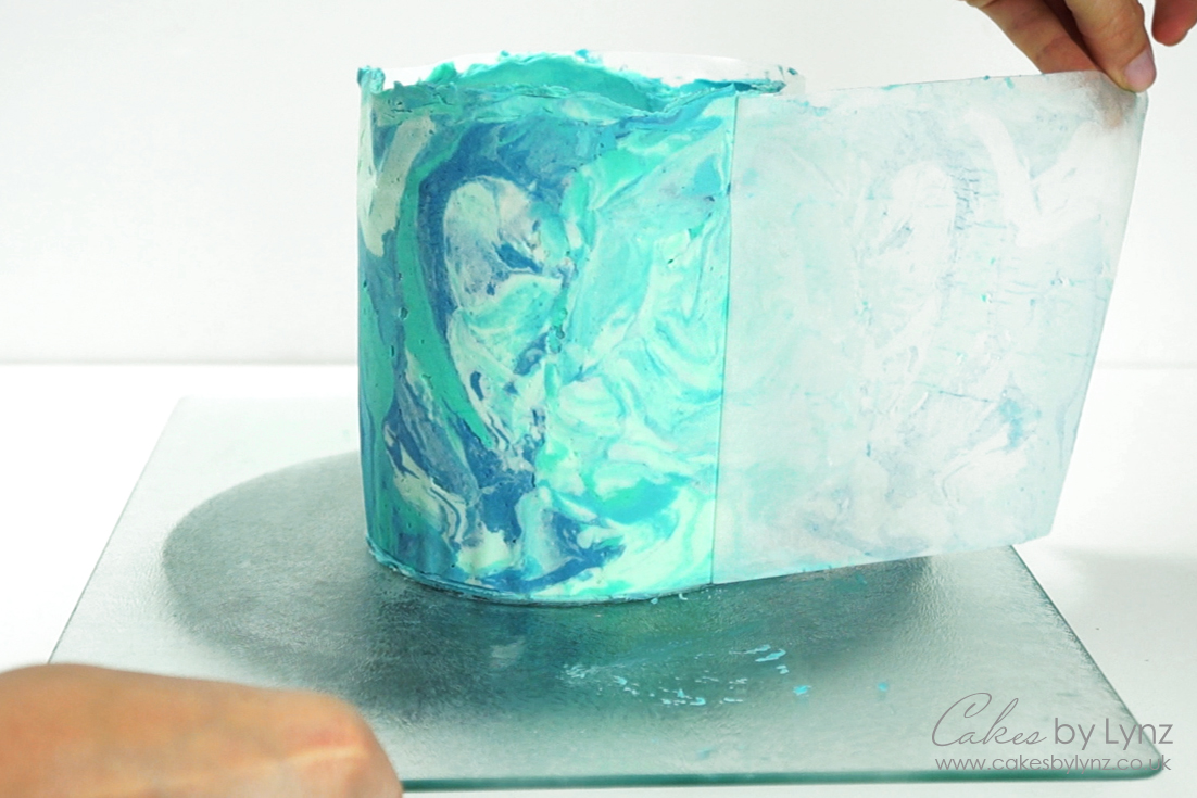 marbled buttercream cake decorating tutorial