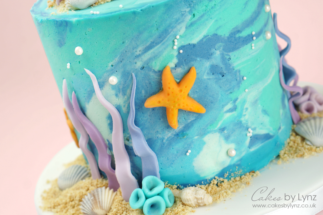 Under the sea marble cake tutorial