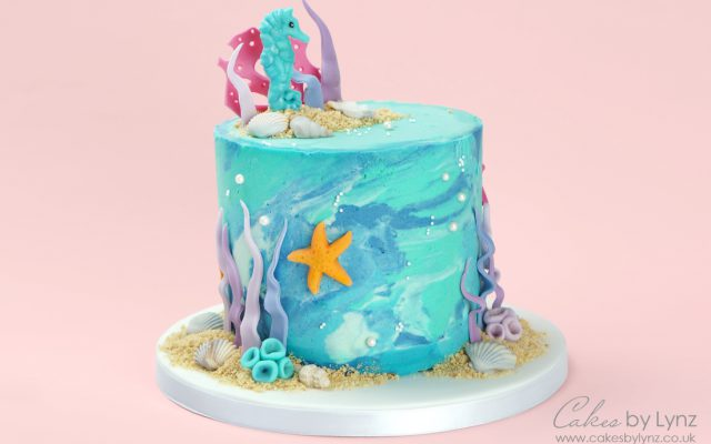 Under the sea seahorse marble cake tutorial