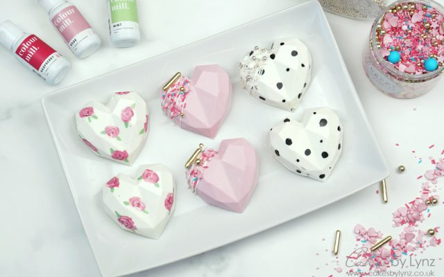 3D chocolate Geometric Cake Hearts 3