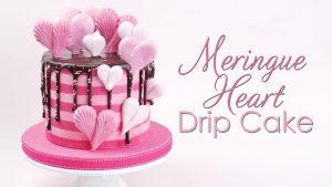 Meringue heart striped drip cake tutorial