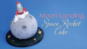 moon landing space rocket cake
