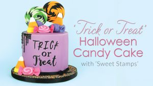 Trick or Treat Halloween candy drip cake