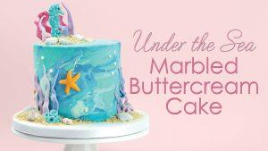 Under the Sea marble buttercream cake