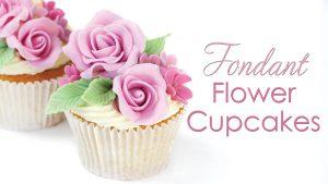 fondant rose flower cupcakes