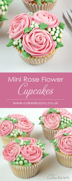 Mini Rose flower cupcakes
