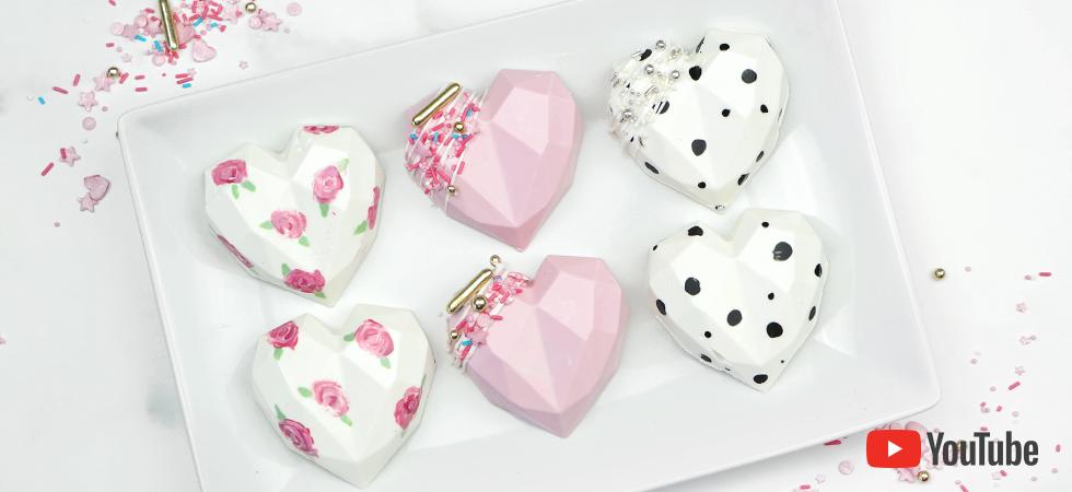 how to make geometric cake hearts