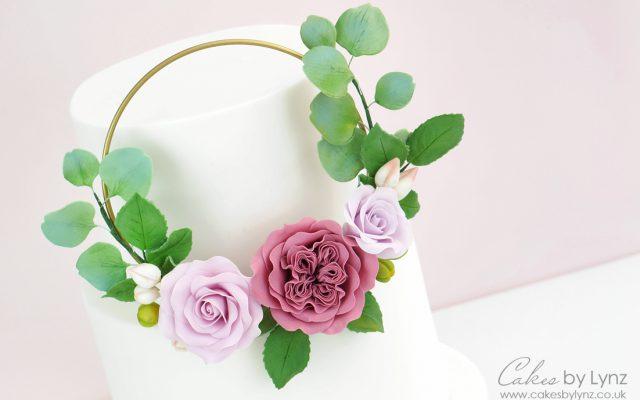 floral flower hoop wreath cake