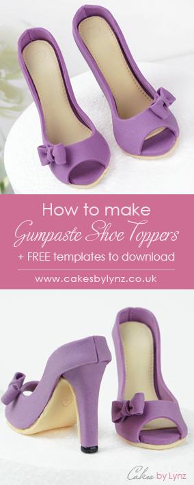 Gumpaste / Sugar shoe cake toppers plus template