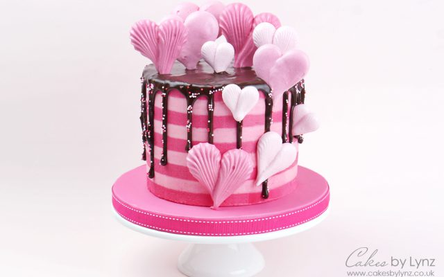 Valentines Meringue Heart Drip Cake