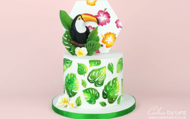Tropical leaves toucan cake tutorial