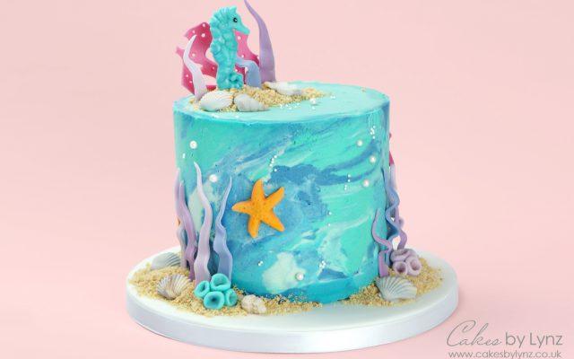 Under the sea seahorse marble cake tutorial