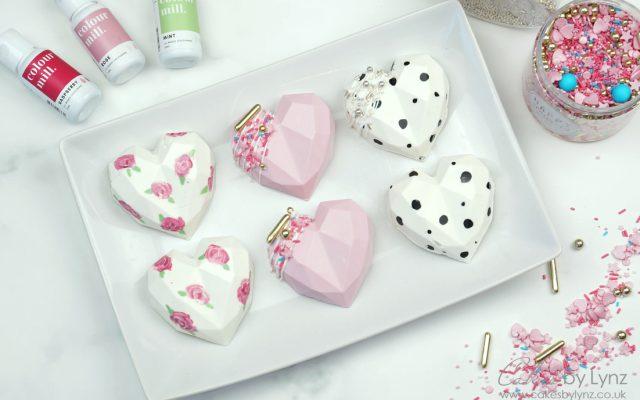 3D chocolate Geometric Cake Hearts 3