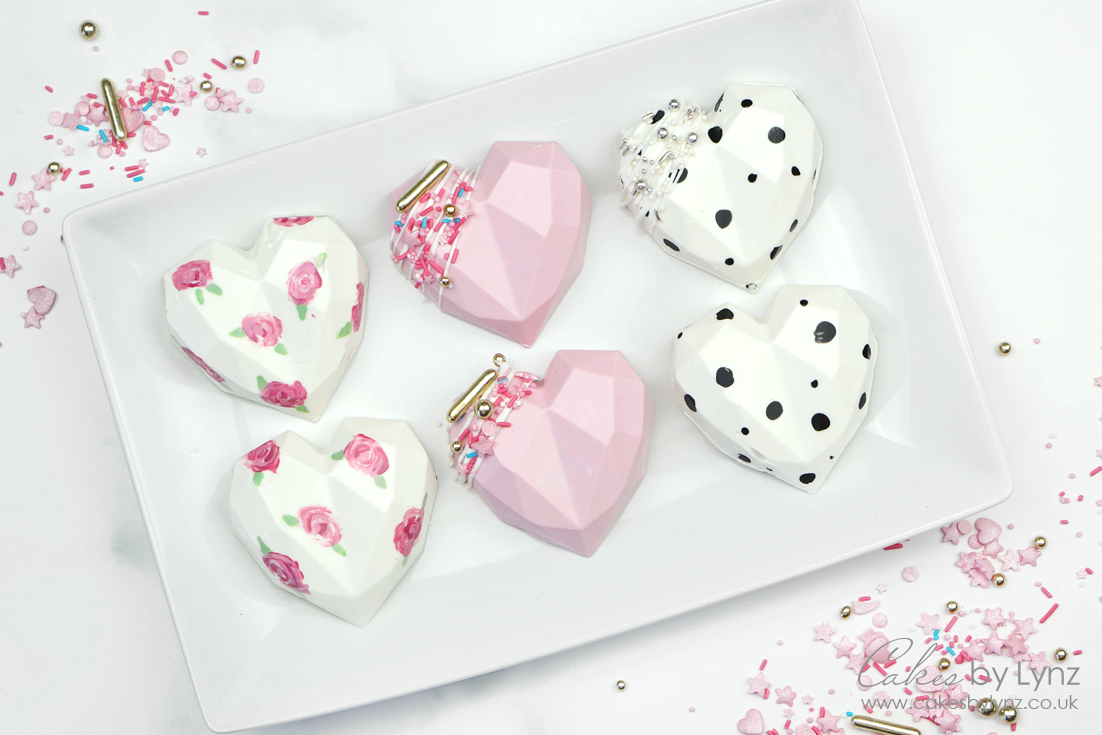 3D Geometric Chocolate Cake Hearts