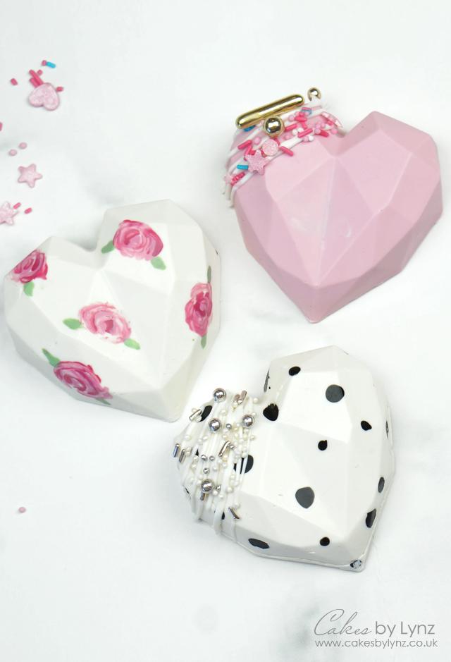 3D chocolate Geometric Cake Hearts