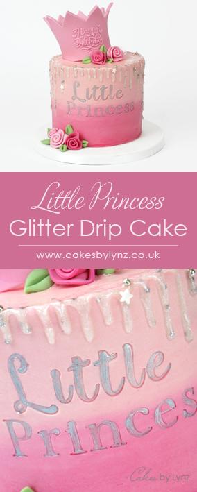 Little Princess Crown glitter drip cake