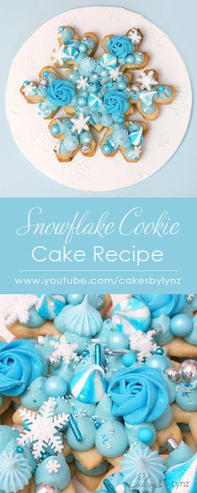 Snowflake Cookie Cake tutorial and recipe
