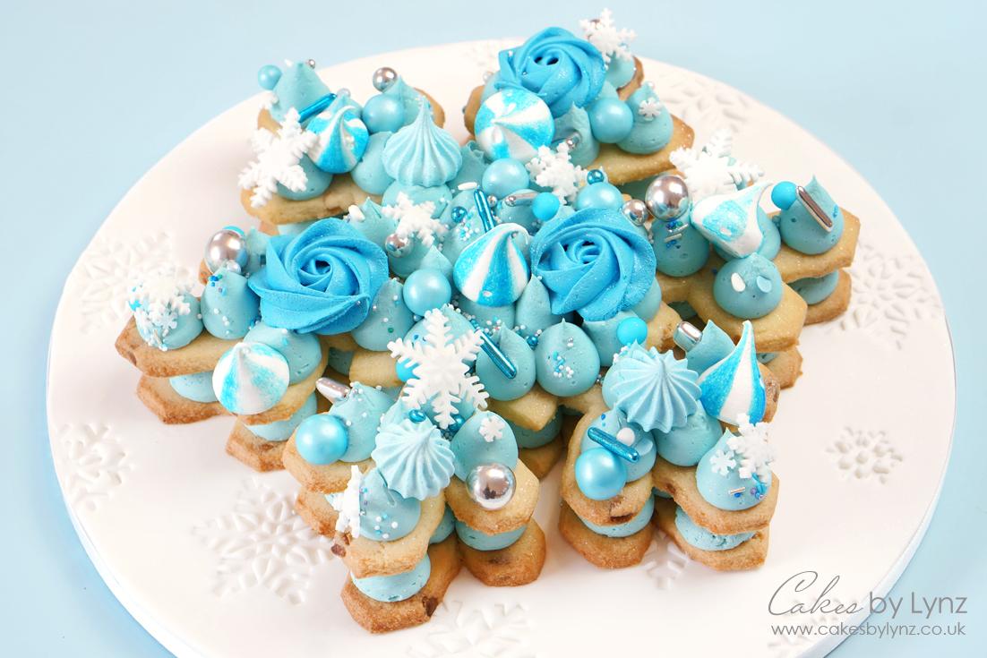 Snowflake cookie cake tutorial