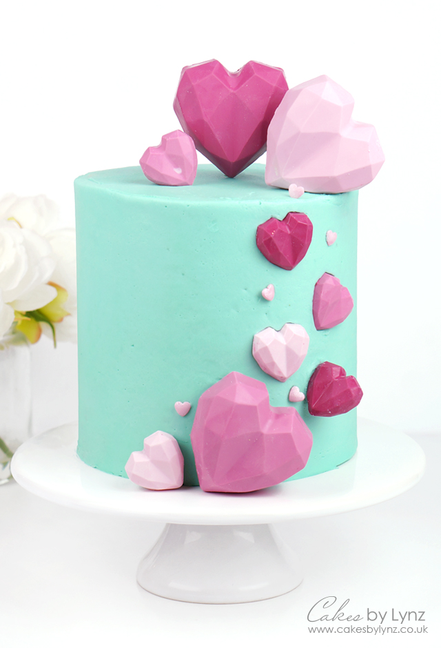 Geometric Cake Heart Cake tutorial for valentines day