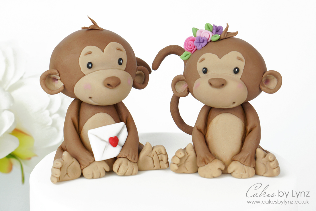 Valentines Monkey Cake Toppers tutorial