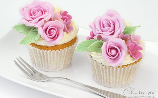 fondant rose flower cupcake tutorial for beginners