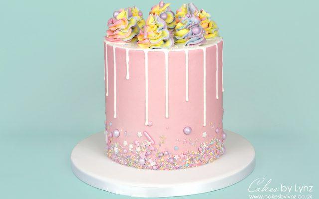 Pastel Rainbow Sprinkle Drip Cake2