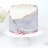 ripped / torn marbled fondant wrap cake tutorial