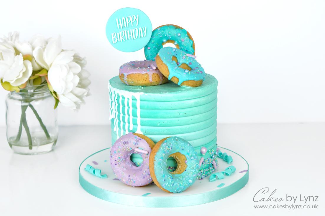 donut themed birthday cake