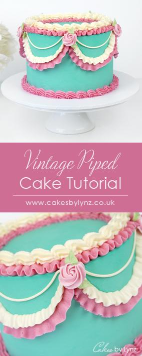 vintage piped Lambeth buttercream cake tutorial
